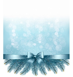 Winter snow and blue ribbon background vector