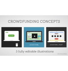 Crowdfunding concepts set online fund the vector