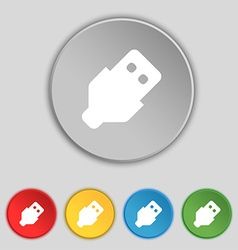 Usb icon sign symbol on five flat buttons vector