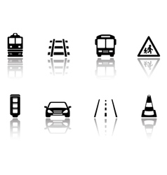 transport icons set with reflection silhouette vector image