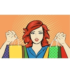 Shopping woman with a sale bag discounts pop art vector
