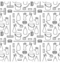 Seamless pattern made of household cleaning object vector