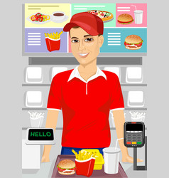 Male cashier at fast food restaurant vector