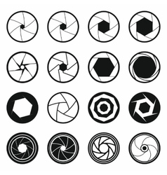 Camera shutter icons set black simple style vector