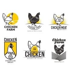 Set of logos with chicken vector