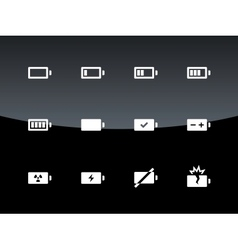 Battery icons on black background vector image