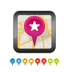 black gps navigator icon with labels vector image vector image
