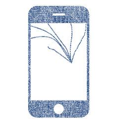 Broken smartphone screen fabric textured icon vector