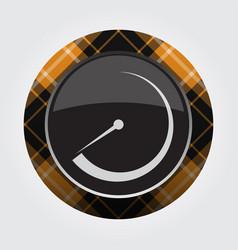 Button with orange black tartan - dial symbol vector
