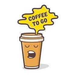 Cartoon comic coffee cup vector image