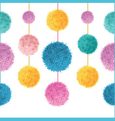 colorful birthday party pom poms on strings vector image vector image