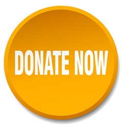 Donate now orange round flat isolated push button vector