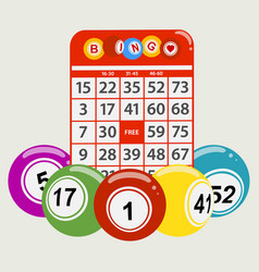 Drawning style bingo balls and red card background vector