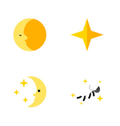 Flat icon bedtime set of lunar nighttime star vector