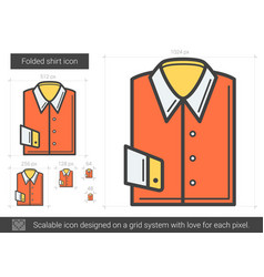 Folded shirt line icon vector
