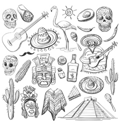 Hand drawn set of mexican symbols vector image vector image