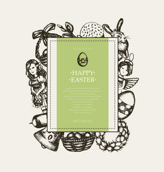 Happy easter - monochromatic hand drawn square vector