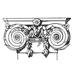 Ionic pilaster capital volutes vintage engraving vector
