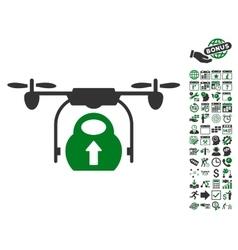 Load cargo drone icon with bonus vector