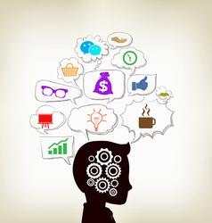 Man ideas infographic social clouds concept vector