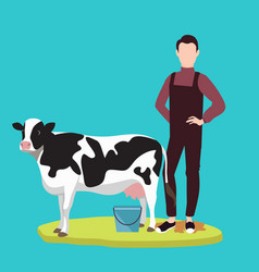 Man standing in front of cow cattle farming vector