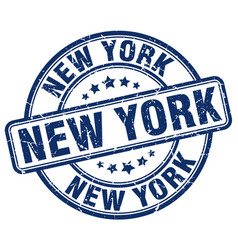 New york blue grunge round vintage rubber stamp vector