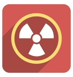 Radiation Danger Flat Rounded Square Icon with vector image