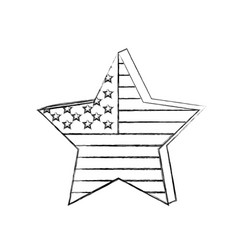 Silhouette star independece day flag icon vector