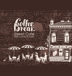 Urban landscape with street cafes and love couple vector