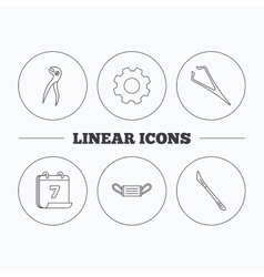 Medical mask scalpel and dental pliers icons vector