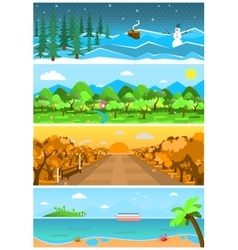 Set of nature backgrounds and landscapes with vector image
