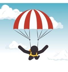 parachuting man extreme sport graphic vector image