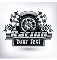 Emblem races checkered flag vector