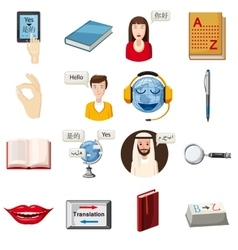 Translator profession icons set cartoon style vector