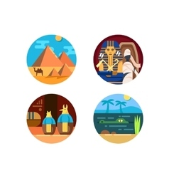 Travel to egypt set of icons vector