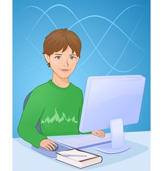 Boy with computer vector