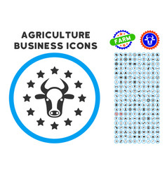 Starred bull rounded icon with set vector