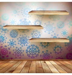Room wall with a shelfs snowflakes eps 10 vector