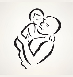 father and baby isolated symbol vector image