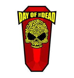Skull of flowers for day of the dead skeleton vector