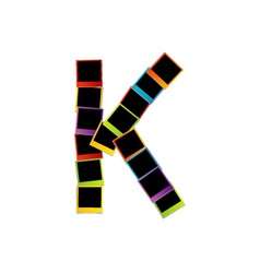 Alphabet K with colorful polaroids vector image