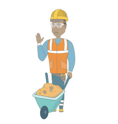 Young african builder standing near wheelbarrow vector