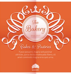 Retro card with bakery logo label vector