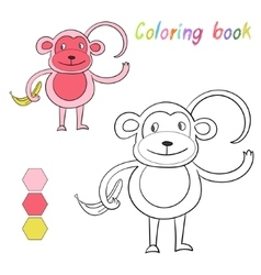 Coloring book monkey kids layout for game vector