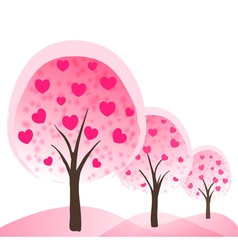 trees with hearts as flowers vector image