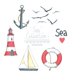 Set of nautical objects vector