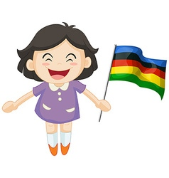 Girl carrying flag for sport event vector