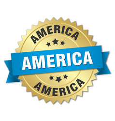 America round golden badge with blue ribbon vector