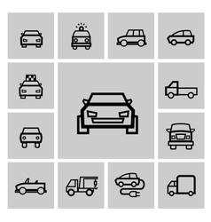 black auto icon set vector image
