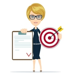 Business woman or manager shows contract and vector